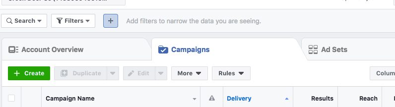 screenshot of campaigns tab in facebook ads manager